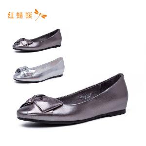 【专柜正品】红蜻蜓亮面低跟蝴蝶结舒适百搭女单鞋