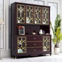 现代酒柜实木靠墙储物柜展示柜餐厅家用美式餐边柜红酒柜子高