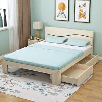 木床单人床1.2米双人床1.5米简易床出租屋床简约现代经济床1.8 加抽+床垫 1800mm*2000mm 框架结构