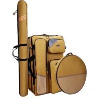双层耐磨钓鱼包渔具包多功能收纳包钓椅包双肩包加厚防水手提包 70型2层米黄5合1【全套】 【钢丝定型】