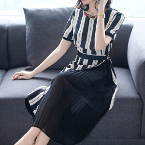 RANJU 然聚2018女装夏季新品新款短袖修身时髦条纹冷淡风连衣裙气质拼接百褶裙子