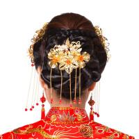 新娘古装头饰古典旗袍簪子头饰中式配饰后头饰发簪流苏步摇