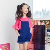女童牛仔背带短裤2018新款儿童装韩版时尚中大童连体吊带五分裤子