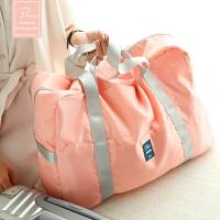 短途折叠包便携旅行袋防水行李包可套拉杆多功能大容量登机收纳袋 粉红色 大号