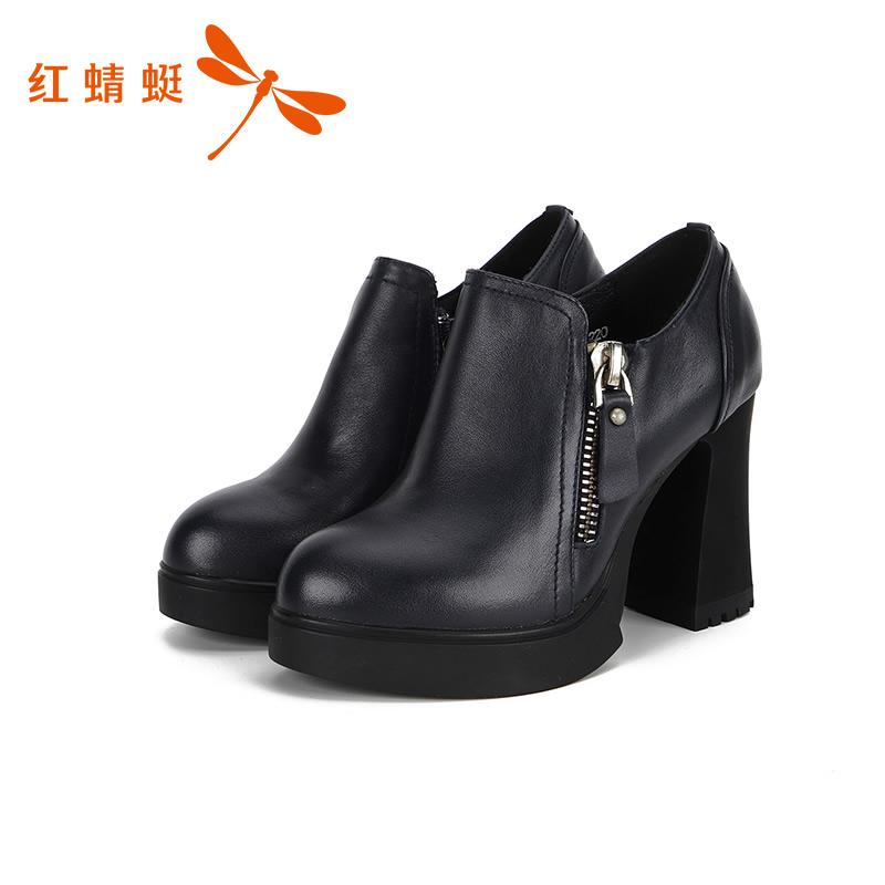 红蜻蜓短靴女靴子新款方头高跟粗跟侧拉链春秋马丁靴女-