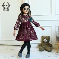 童装女童连衣裙 韩版新款秋冬镂空蕾丝裙加绒加厚保暖长袖公主裙