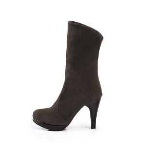 ELEISE美国艾蕾莎新品秋冬180-109韩版磨砂绒面高跟女士毛毛短靴