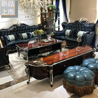欧式沙发组合 新古典�\檀实木沙发别墅客厅皮艺沙发123定制 其他
