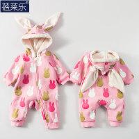 婴儿连体衣加厚秋冬男女宝宝休闲长袖哈衣爬服外出新生儿衣服冬季