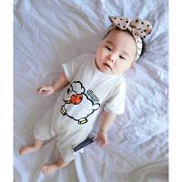 婴儿连体衣服宝宝新生儿季01岁9个月春款短袖哈衣睡衣爬服