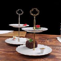 【支持礼品卡】下午茶点心架欧式陶瓷双层水果盘三层蛋糕架干果零食甜品托盘r7w