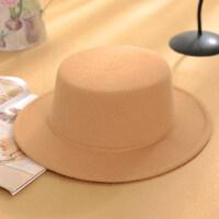韩版女生英伦平顶礼帽 爵士帽绅士帽潮男 新款光板帽百搭黑色礼帽子女