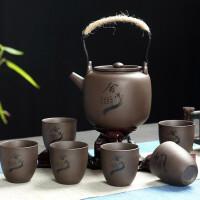 �t兔子家用泡茶�夭璞�整套紫砂提梁�匾�亓�杯功夫茶具套�b