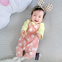 婴儿连体衣服女宝宝新生儿夏季0-3个月三角长袖休闲哈衣春夏款