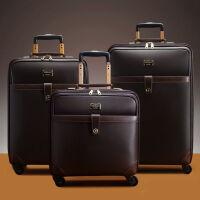 拉杆箱万向轮旅行箱16寸商务登机箱20寸男女行李箱24寸皮箱 深棕色 16寸方形