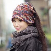 帽子女 女士两用围脖套头帽时尚韩版潮头巾帽堆堆月子帽