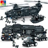 沃马积木拼装玩具益智力特警武装运输飞机拼插警车模型�犯吣泻⒆�