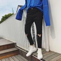 的破洞牛仔裤男士夏季2018新款韩版修身小脚裤学生黑色潮