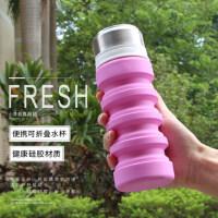 不锈钢盖密封水壶大容量男女杯户外可伸缩折叠水杯食品级硅胶材质