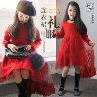 女童长袖连衣裙2017新款秋装韩版中大儿童纯棉拼接网纱礼服公主裙