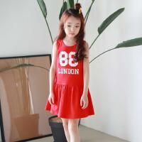 韩版儿童沙滩裙女童装海边度假连衣裙漏背宝宝夏季红色背心短裙