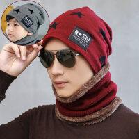 韩版潮加绒毛线帽男士针织加厚户外包头帽 新款儿童保暖围脖套