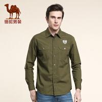 骆驼CAMEL 男装 骆驼男士尖领纯色衬衫 休闲长袖衬衫 男