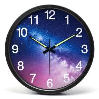 挂钟客厅创意夜光数字挂钟静音时钟卧室金属壁钟14英寸挂表