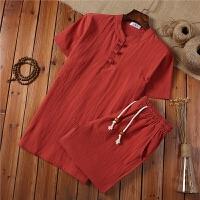 夏季中年男士棉麻套装中老年人亚麻短袖T恤红色本命年爸爸装短裤