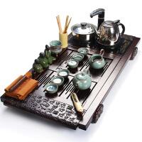 尚帝 哥窑汝窑功夫茶具套装 四合一套装加电磁炉 实木茶盘套装WPWFHT6K