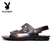playboy男士2018新款真皮沙滩鞋夏季休闲凉拖软底防水防滑凉鞋