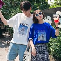 情侣装夏装2018新款印花短袖T恤男潮流韩版学生宽松五分袖体恤衫