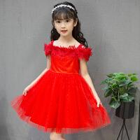 女童公主裙蓬蓬纱夏季一字肩礼服主持人钢琴演出服儿童连衣裙长裙