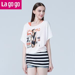 【618大促-每满100减50】lagogo拉谷谷夏季新款宽松性感女孩镶钻打底衫女