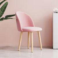 北欧梳妆椅子靠背现代简约金属布艺餐椅ins风卧室家用化妆台凳子