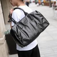 男士旅行包商务休闲软皮男包大容量单肩手提包斜跨包潮流 黑色