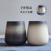 个性创意日式陶瓷杯子带盖勺咖啡杯磨砂马克杯情侣杯简约茶杯复古