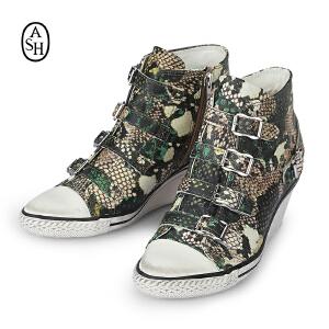 ASH艾熙 GENIAL中帮真皮女靴休闲坡跟迷彩蛇纹增高女鞋87461