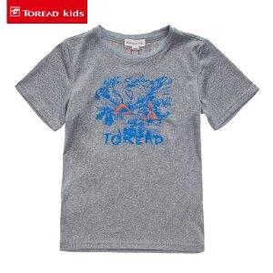 探路者童装 儿童T恤中大童2017夏季新款印花男童圆领短袖T恤男孩
