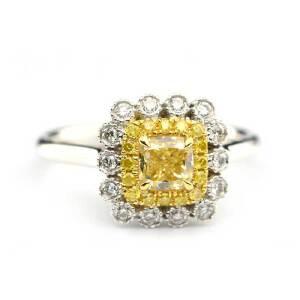 梦・梵雅 钻石戒指  黄钻戒指  18K金1克拉效果中黄彩钻钻戒指女款 送女友求婚结婚戒指