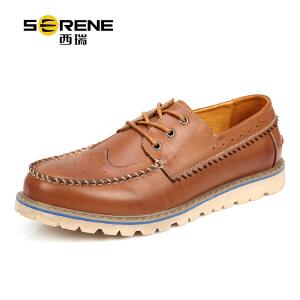 西瑞英伦男士休闲皮鞋布洛克真皮潮流复古男鞋低帮工装鞋男布洛克6252
