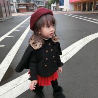 婴幼儿女宝宝豹纹毛领可卸披肩小披风外套上衣斗篷单排扣冬