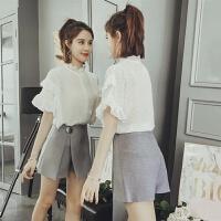 时尚套装裙女2018夏季新款韩版俏皮洋气套装雪纺上衣配短裙两件套