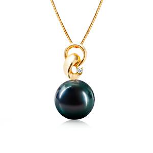 梦 梵雅 珍珠项链 法国大溪地黑珍珠14K金钻石吊坠海水珍珠正圆无瑕送925银项链带证书11-12mm
