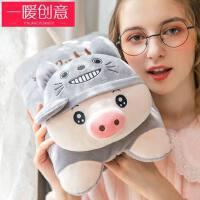 韩版毛绒充电式热水袋注水女防爆暖水袋学生可爱��宝宝暖手宝热宝