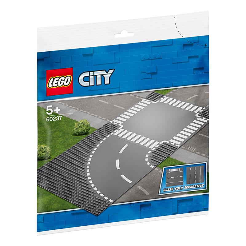 【当当自营】LEGO乐高积木城市组City系列60237 5岁+弯道与十字路口 【乐高圣诞倒计时】使用曲型道路板和十字道路板拓展乐高城市!