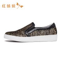 红蜻蜓秋冬季新款女鞋一脚蹬套脚轻便学生韩版懒人休闲鞋-