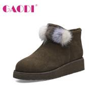 高蒂新品雪地靴冬季韩版加绒牛反绒女士短靴厚底圆头短筒靴子女