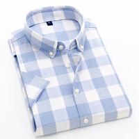 格子短袖衬衫男士夏季韩版纯棉衬衣 爆款