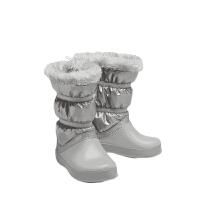 Crocs卡骆驰童鞋儿童冬季女童洛基靴泡芙靴童平底保暖棉靴|205829女士珠光洛基靴